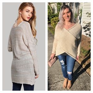 Sweaters - Relaxed Wrap Criss Cross Sweater Cream